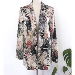Zara Jackets & Coats - EUC Zara Fauna Palm Leaves Floral Blazer Jacket L